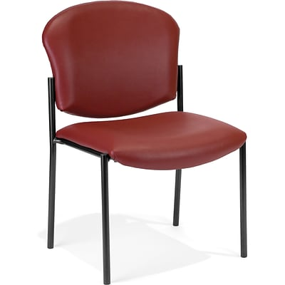 OFM Manor Vinyl Armless Guest/Reception Chair, Wine