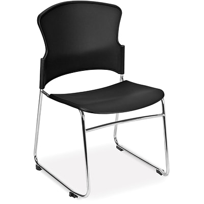 OFM Multi-Use Plastic Seat and Back Stack Chair, Black, 4/Pack