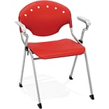 OFM Rico Polypropylene Stack Chair With Arms, Red