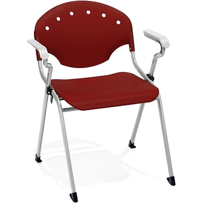 OFM Rico Polypropylene Stack Chair With Arms, Burgundy