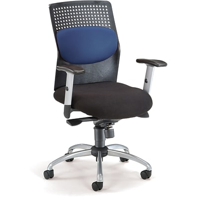 OFM AirFlo Fabric High Back Executive Task Chair With Silver Accents, Blue