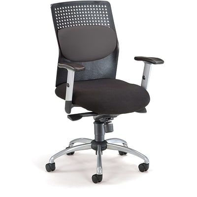 OFM AirFlo Fabric High Back Executive Task Chair With Silver Accents, Gray