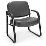 OFM Big and Tall Vinyl Guest/Reception Chair, Charcoal