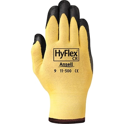 Ansell 11-500 DuPont™ Kevlar®/Foam Nitrile Coate Yellow/Black Assembly Gloves, Size Group 7, 12/Pair