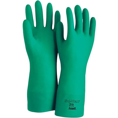 Ansell Sol-Vex® 37-175 Flock-Lined Nitrile Gloves; Size Group 7, 12/Pair