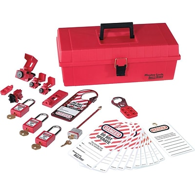 Master Lock® Safety Series™ 1457E410KA Personal Lockout Kit, Red