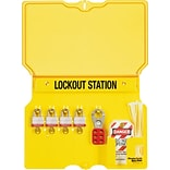 Master Lock® Safety Series™ 1482BP3 Multilingual Padlock Station, 4 Lock