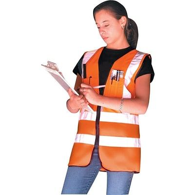 OccuNomix LUX-SSFS-O Class 2 Premium Solid Dual Stripe Surveyor Vest, 2XL