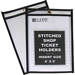 C-Line Plastic Shop Ticket Holder, Clear, 6 x 9, 25/Bx