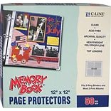 C-Line Memory Book Top-Load Page Protectors, 12 x 12, 3-Ring and Postbound