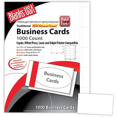 Blanks/USA® 3 1/2 x 2 67 lbs. Micro-Perforated Bristol Business Card, White, 1000/Pack
