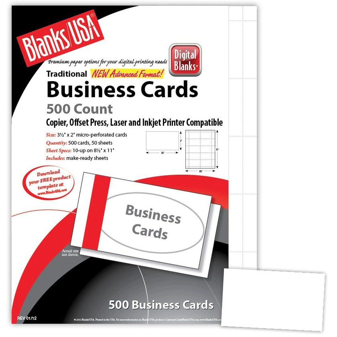 Blanks Usa 3 1 2 X 2 80 Lbs Micro Perforated Business Card White 2500 Pack Quill Com