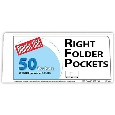 Blanks/USA® 8 7/8 x 4 80 lbs. Gloss Cover Right Folder With One Pocket, White, 50/Pack