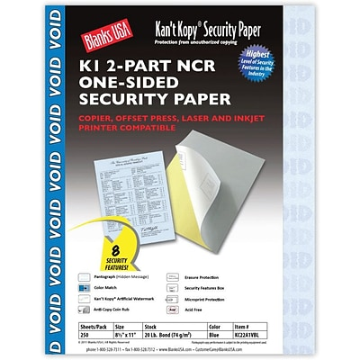 Blanks/USA® Kant Kopy® 8 1/2 x 11 20 lbs. 2 Part K1 Security Paper, Blue, 250/Pack