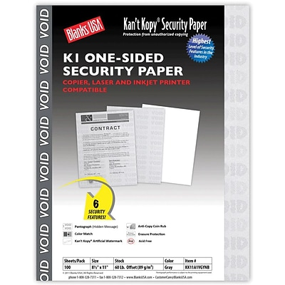 Blanks/USA® Kant Kopy® 8 1/2 x 11 60 lbs. K1 Security Paper, Void Gray, 100/Pack