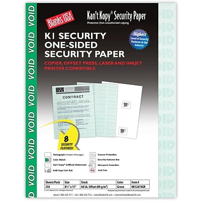 Blanks/USA® Kant Kopy® 8 1/2 x 11 60 lbs. K1 Security Paper, Void Green, 250/Pack