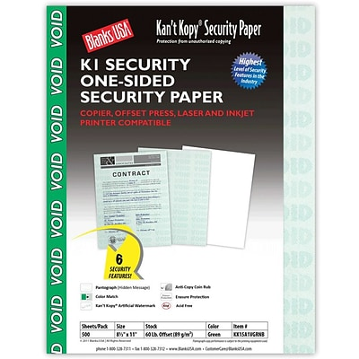 Blanks/USA® Kant Kopy® 8 1/2 x 11 60 lbs. K1 Security Paper, Void Green, 500/Pack
