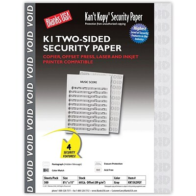 Blanks/USA® Kant Kopy® 8 1/2 x 11 60 lbs. K1 Two-Sided Security Paper, Void Gray, 500/Pack