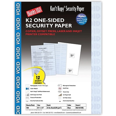 Blanks/USA® Kant Kopy® 8 1/2 x 11 60 lbs. K2 Security Paper, Void Blue, 100/Pack