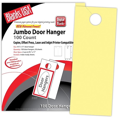 Blanks/USA® 4 1/4 x 11 Digital Bristol Cover Door Hanger, Canary Yellow, 50/Pack