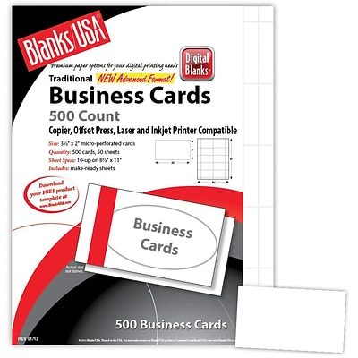 Blanks/USA® 3 1/2 x 2 80 lbs. Micro-Perforated Smooth Business Card, White, 500/Pack