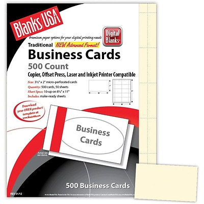 Blanks/USA® 3 1/2 x 2 65 lbs. Micro-Perforated Timberline Business Card, Ivory, 500/Pack