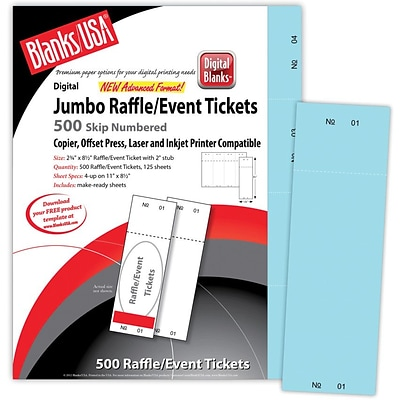 Blanks/USA® 2 3/4 x 8 1/2 Numbered 01-500 Digital Index Cover Raffle Ticket, Blue, 125/Pack