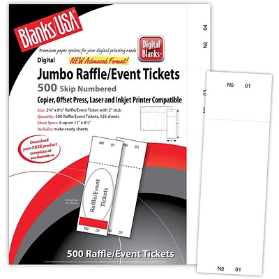 Blanks/USA® 2 3/4 x 8 1/2 Numbered 01-500 Digital Index Cover Raffle Ticket, White, 125/Pack