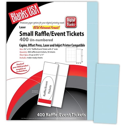 Blanks/USA® 2 1/8 x 5 1/2 Digital Index Cover Event Ticket, Blue, 50/Pack
