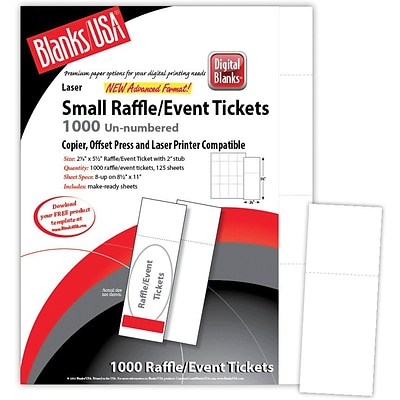 Blanks/USA® 2 1/8 x 5 1/2 Digital Matte Cover Event Ticket, White, 125/Pack