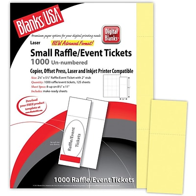 Blanks/USA® 2 1/8 x 5 1/2 Digital Index Cover Event Ticket, Yellow, 125/Pack