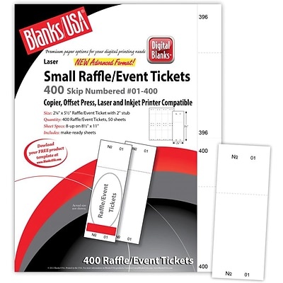 Blanks/USA® 2 1/8 x 5 1/2 Numbered 01-400 Digital Index Cover Raffle Ticket, White, 50/Pack