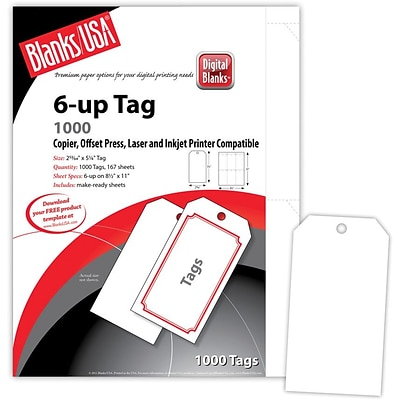 Blanks/USA® 2.84 x 5 1/4 Digital Printable Tag, White, 167/Pack