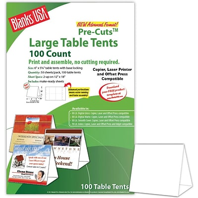 Blanks/USA® 6 x 3 3/8 x 5 5/8 80 lbs. Digital Table Tent, White, 100/Pack
