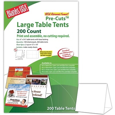 Blanks/USA® 6 x 3 3/8 x 5 5/8 80 lbs. Digital Table Tent, White, 200/Pack