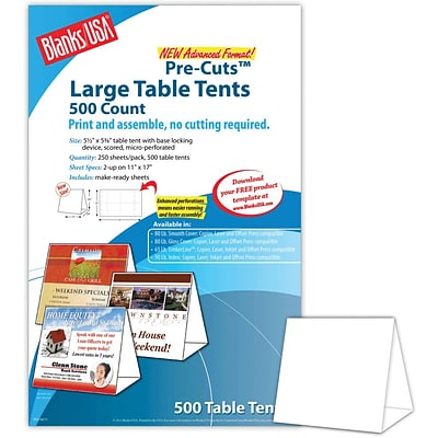 Blanks/USA® 5 1/2 x 3 1/8 x 5 3/8 80 lbs. Digital Table Tent, White, 500/Pack