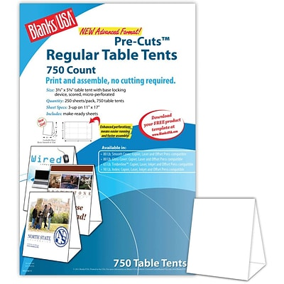Blanks/USA® 3.67 x 3 1/8 x 5 3/8 80 lbs. Digital Table Tent, White, 750/Pack
