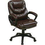 Office Star Work Smart™ Faux Leather Mid Back Managers Chair, Chocolate