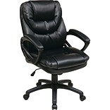 Office Star Work Smart™ Faux Leather Mid Back Managers Chair, Black