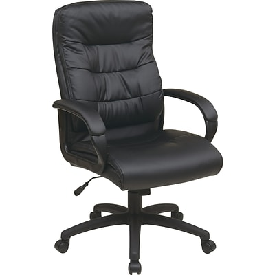 Office Star Work Smart™ Faux Leather High Back Executive Chair With Padded Arms, Black