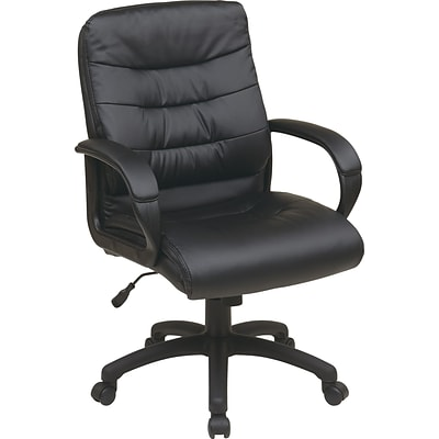 Office Star Work Smart™ Faux Leather Mid-Back Executive Chair with Padded Arms, Black