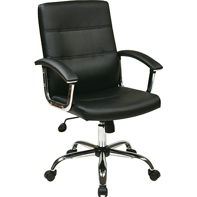 Office Star Ave Six® Faux Leather Malta Office Chair, Black