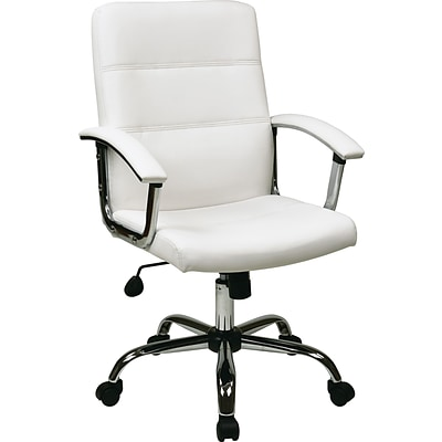 Office Star Ave Six® Faux Leather Malta Office Chair, White