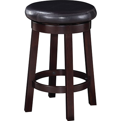 Office Star OSP Designs 24 Faux Leather Metro Round Bar Stool, Espresso