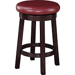 Office Star OSP Designs 24 Faux Leather Metro Round Bar Stool, Red