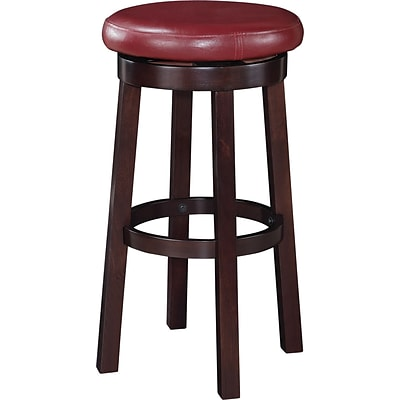 Office Star OSP Designs 30 Faux Leather Metro Round Bar Stool, Crimson Red