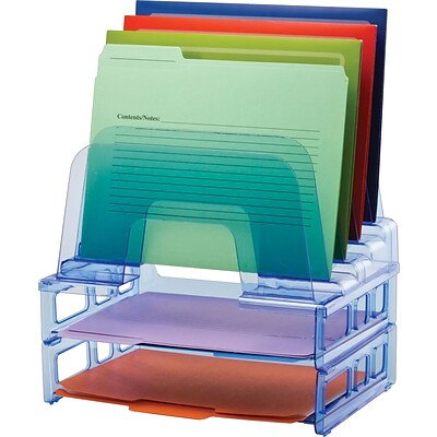Officemate® Blue Glacier Desk Accessories, 5-Tier Incline Sorter Step File & 2 Letter Trays