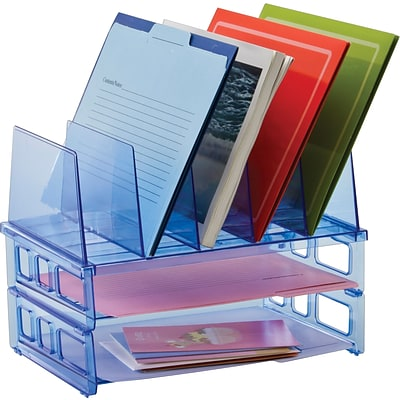 Officemate® Blue Glacier Desk Accessories, 5-Tier Sorter & 2 Letter Trays