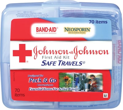 Johnson & Johnson RED CROSS Brand® SAFE TRAVELS® Hard Plastic First Aid Kit (82740)