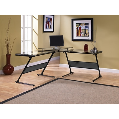 Z-Line Designs Delano Metal Computer Desk; Black Clear